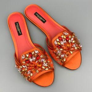 NIB DOLCE & GABBANA Taormina Lace Crystal Slides